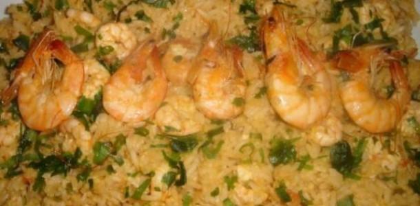 receita arroz de camarão