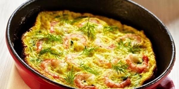 receita omelete com camarão