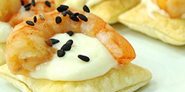 receita canapés folhados de camarão