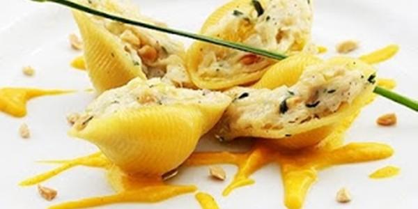 receita conchiglione recheado com bacalhau