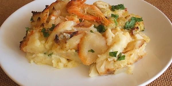 receita bacalhau com camarão