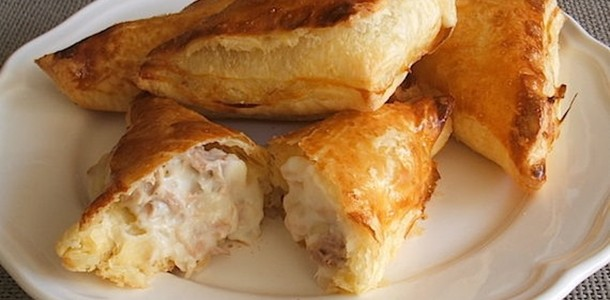receita pastel folhado de atum