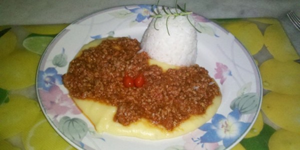 receita polenta cremosa à bolonhesa