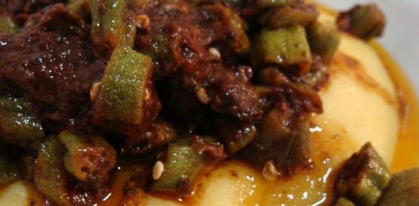 receita carne e quiabo com polenta