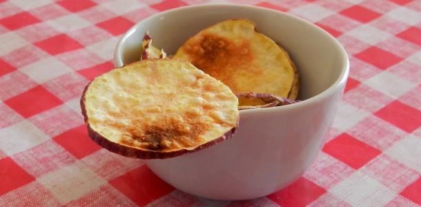 receita chips de batata doce no microondas