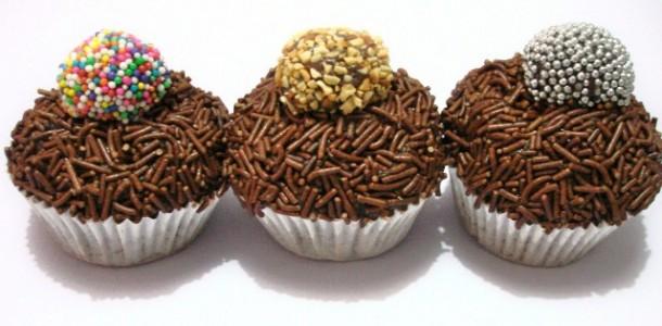 Receita Cupcake Cobertura de Brigadeiro