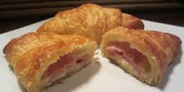 receita croissants de presunto e queijo