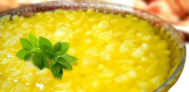 receita gelado de abacaxi