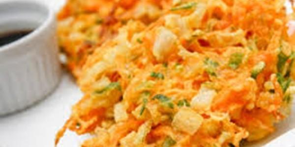 receita tempura de legumes e camarão