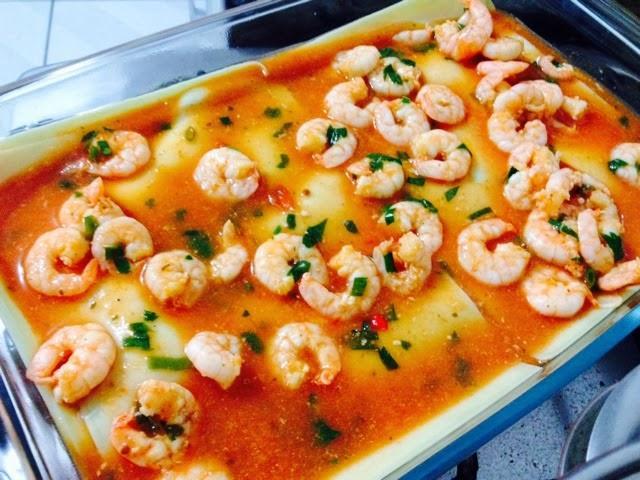 receita lasanha de camarão