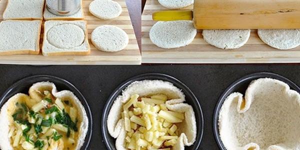 receita quiche de pão de forma