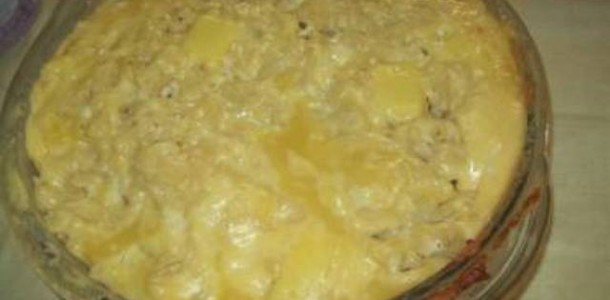 Receita Macarrão de Forno com queijo e presunto ao molho Branco