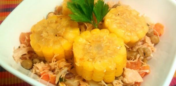 frango caipira com legumes