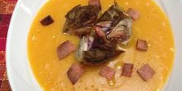 sopa de abóbora com presunto