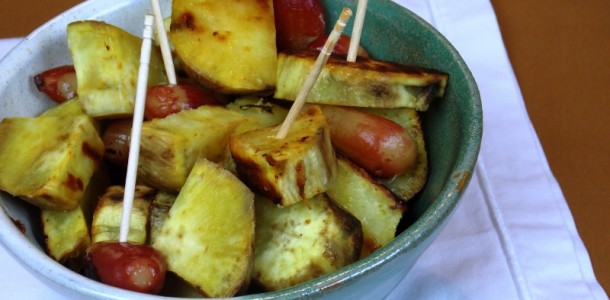 batata doce com pinhão assados