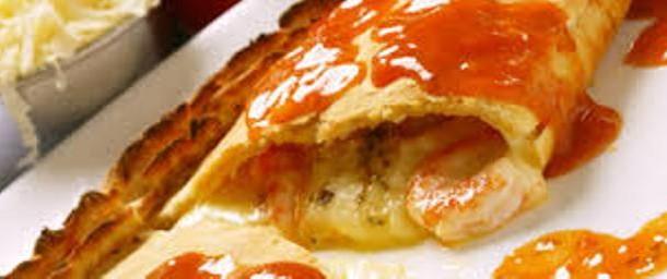 calzone de camarão com queijo