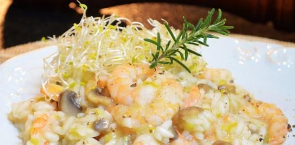 risoto de camarão com cogumelos
