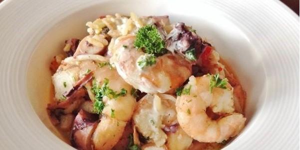 camarão com arroz e polvo