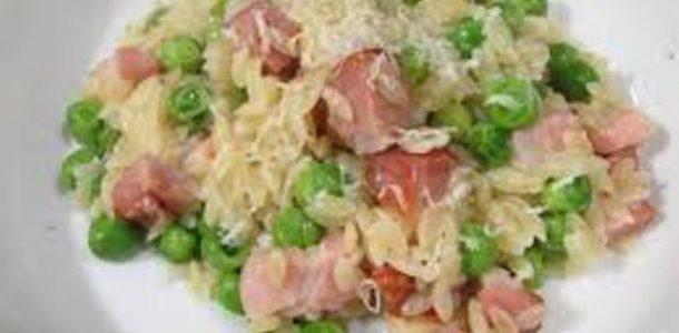 risoto de bacon com ervilha