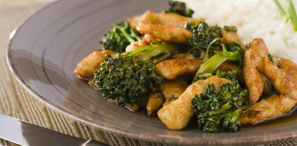 frango com brócolis ao shoyu